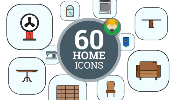 Furniture Home Interior Animation - Flat Icons and Elements