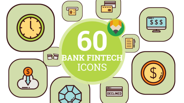 Finance Technology Bank Fintech Business Financial Animation - Flat Icons and Elements