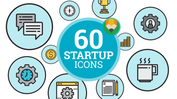 Startup New Business Marketing Project Animation - Flat Icons and Elements