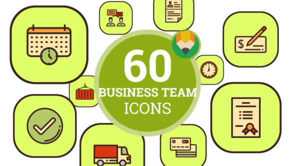 Business Management Team Manager Animation - Flat Icons and Elements