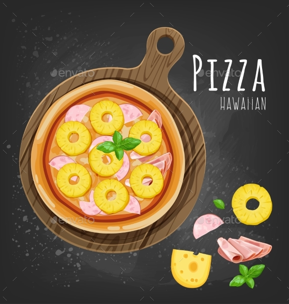 GraphicRiver Set of Italian Pizza on Wooden Boards 9 Items 20482358