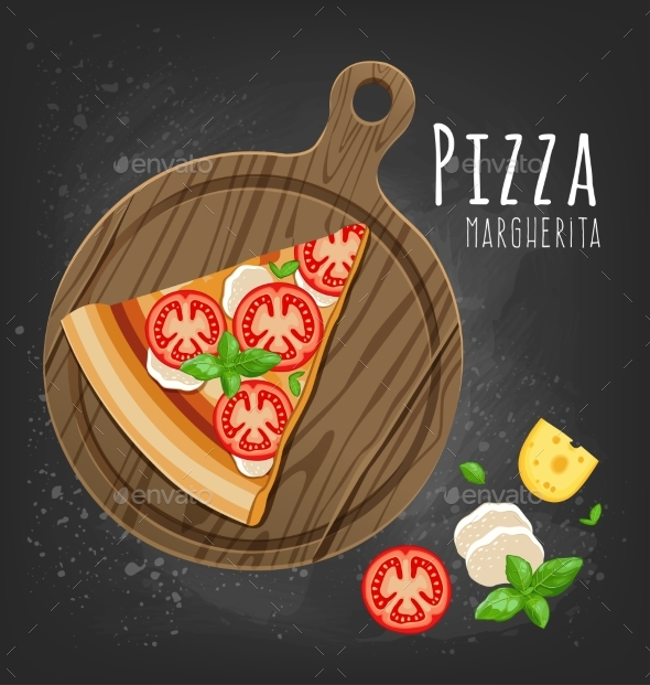 Set of Italian Pizza on Wooden Boards. 9 Items - Food Objects