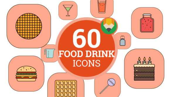 Food Sweet Drink Beverage Animation - Flat Icons and Elements