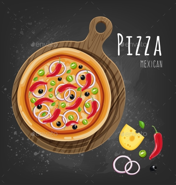 GraphicRiver Set of Italian Pizza on Wooden Boards 9 Items 20482386