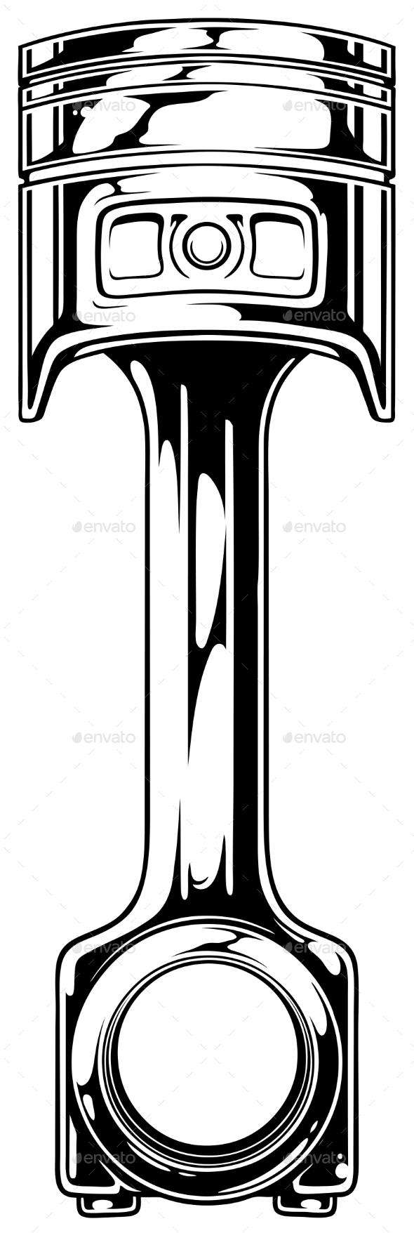 Graphic Black Car Engine Piston - Miscellaneous Vectors