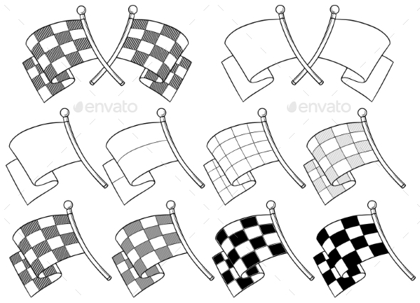 Cartoon Graphic Crossed Racing Flag Vector Set - Miscellaneous Vectors