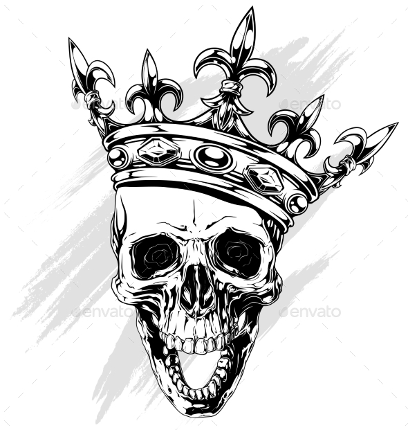 GraphicRiver Graphic Human Skull with King Crown 20482420