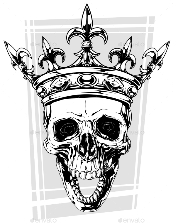 Graphic Black and White Human Skull with Crown - Miscellaneous Vectors