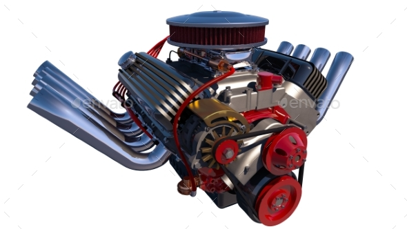 Hot Rod Engine Isolated. 3D Render - Miscellaneous 3D Renders