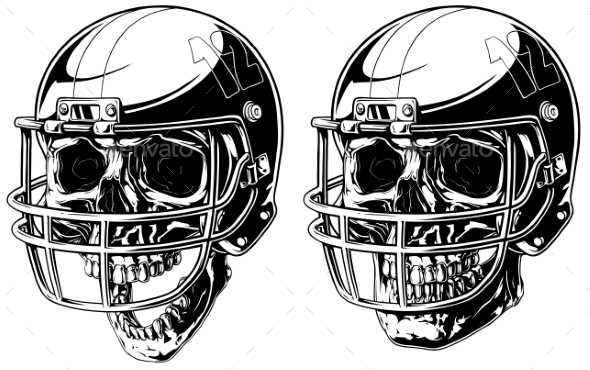Graphic Human Skull in American Football Helmet - Miscellaneous Vectors
