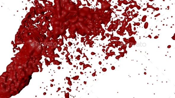 Red Paint Splash Isolated. 3D Render - Abstract 3D Renders