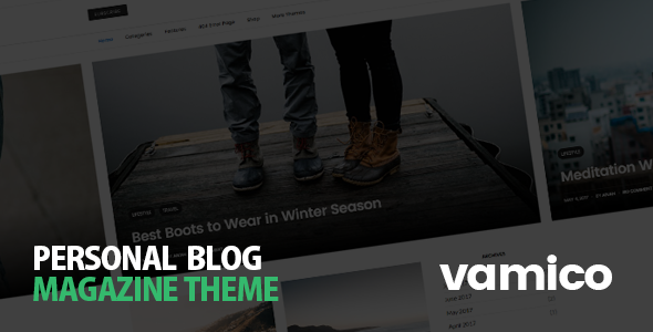ThemeForest Vamico Personal Blog & Magazine WordPress Theme 20482514