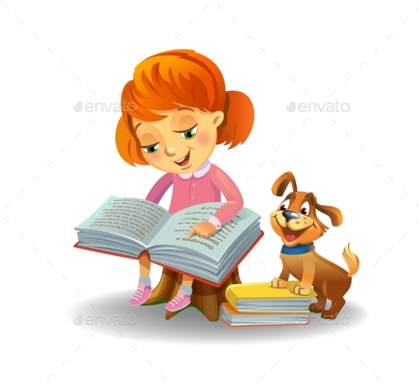 Girl Reading Book - People Characters