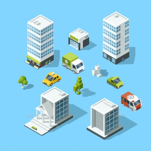 Set of Isometric Cartoon-style Buildings, Trees - Objects Vectors