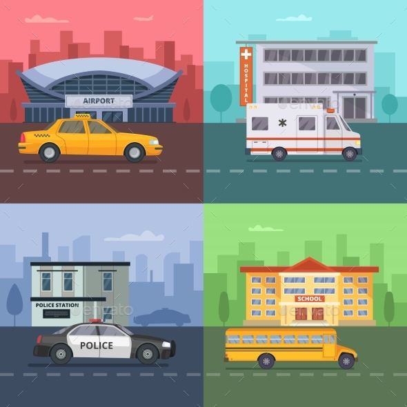 Background Illustrations with Different Municipal - Miscellaneous Vectors