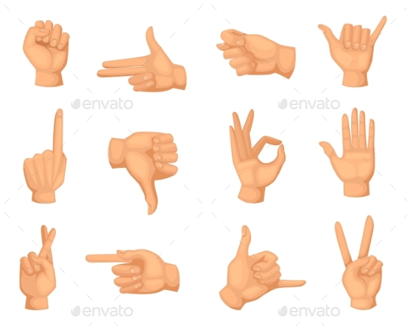 Different Hands Gestures. Vector Pictures in - Web Elements Vectors