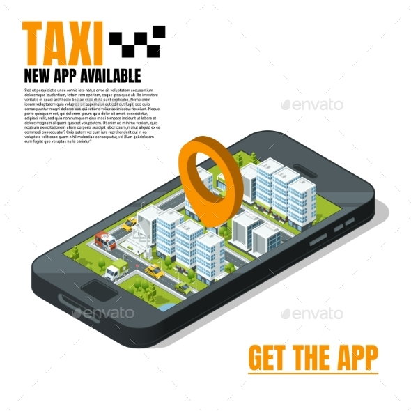 Mobile Phone with City Landscape. Online Taxi - Objects Vectors