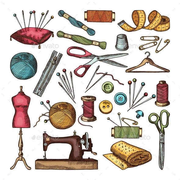 Colored Pictures of Different Tools for Needlework - Objects Vectors