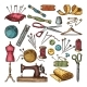 Colored Pictures of Different Tools for Needlework