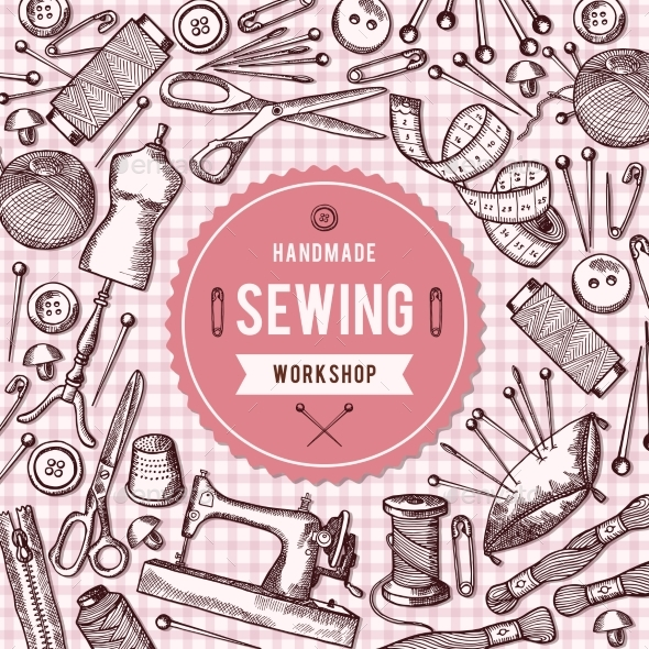 Vector Background Illustration of Needlework Tools - Backgrounds Decorative