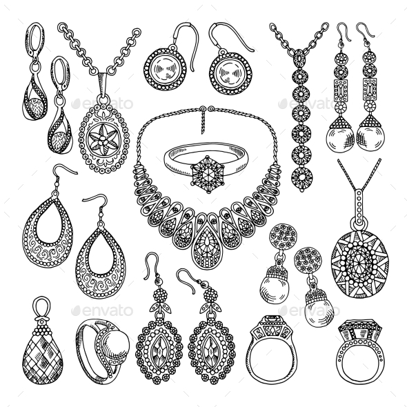 Golden and Silver Jewelry. Different Diamonds - Objects Vectors