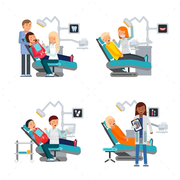 Patient in Dentist Room. Healthcare Illustrations - Miscellaneous Vectors