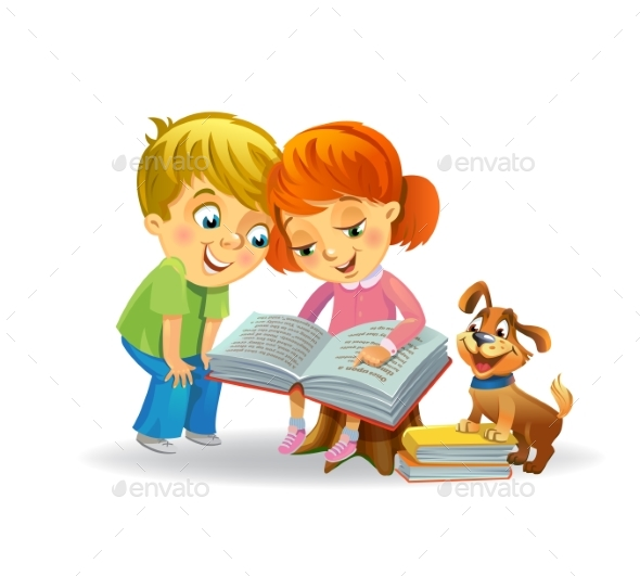Girl and Boy Reading Book - People Characters