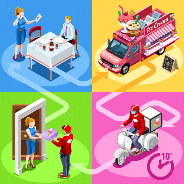 Food Truck Ice Cream Cart Home Delivery Vector Isometric People - Food Objects