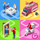 Food Truck Ice Cream Cart Home Delivery Vector Isometric People