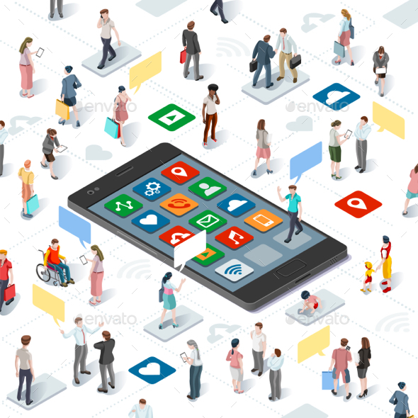 People Connecting Smartphone Vector Isometric Infographic - People Characters