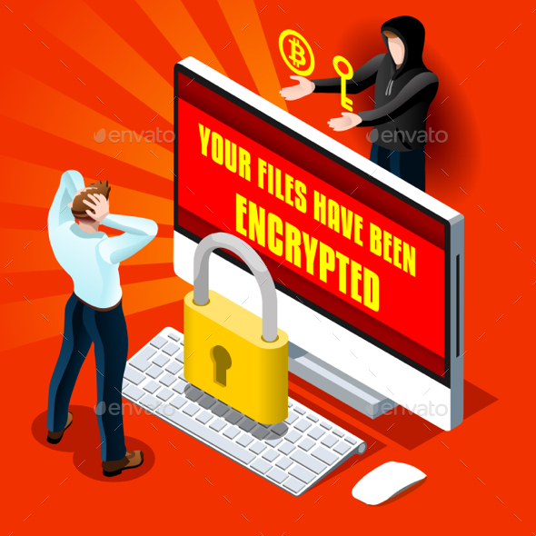 Ransomware Malware Cyber Crime Vector Infographic Illustration - Web Technology