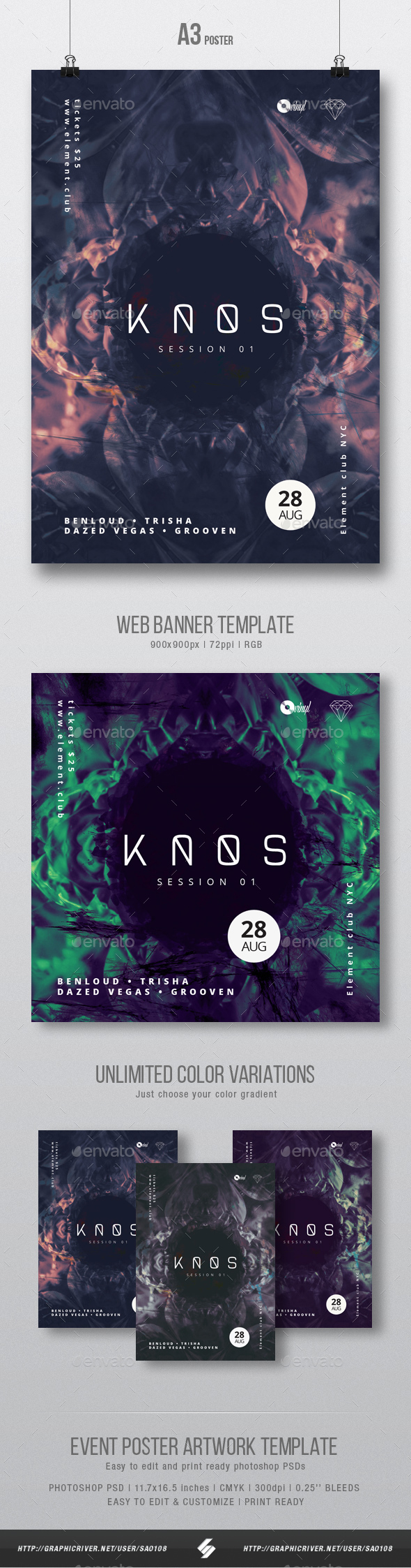 Kaos 01 - Progressive Party Flyer / Poster Artwork Template A3 - Clubs & Parties Events