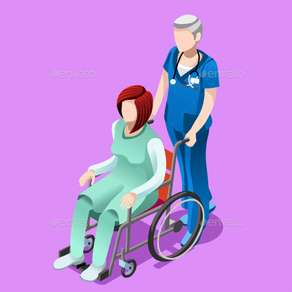 Vector Senior Male Nurse and Patient Medical Isometric People - Health/Medicine Conceptual