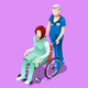 Vector Senior Male Nurse and Patient Medical Isometric People