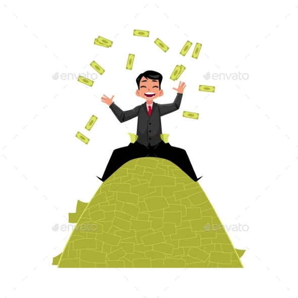 Vector Office Worker Sitting on Money Pile - Concepts Business