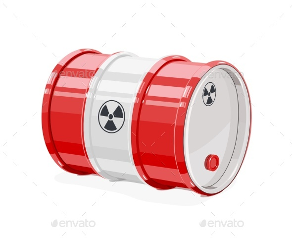 Red Metal Barrel for Toxic and Radioactive Waste - Man-made Objects Objects