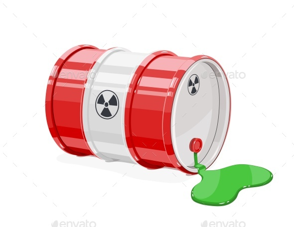 GraphicRiver Red Metal Barrel for Toxic and Radioactive Waste 20483192