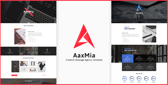 AaxMia - One page Creative Agency and Portfolio Template