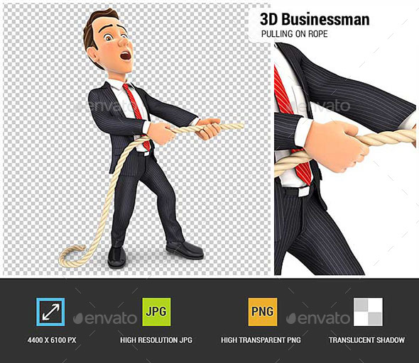 3D Businessman Pulling on the Rope - Characters 3D Renders