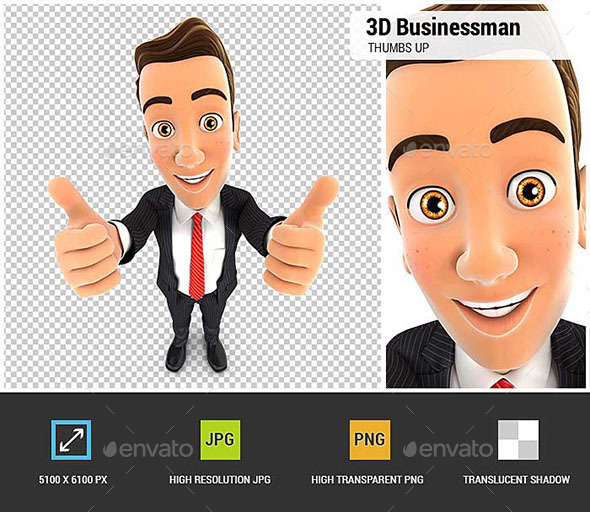 GraphicRiver 3D Businessman Thumbs Up 20483380