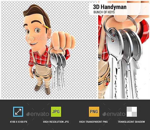 3D handyman Holding a Bunch of Keys - Characters 3D Renders