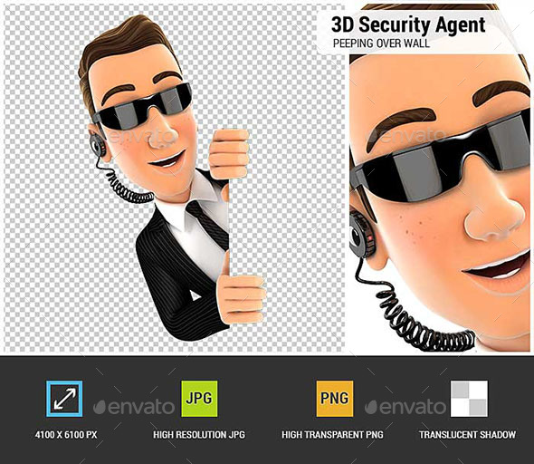 3D Security Agent Peeping Over Blank Wall - Characters 3D Renders