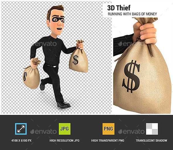 3D Thief Running With Bags of Money - Characters 3D Renders