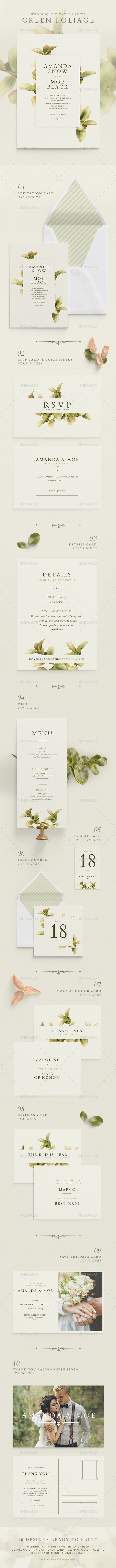 Wedding Invitation Suite - Green Foliage