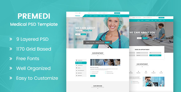 PreMedi - Hospital And Medical Multipurpose PSD Template - Health & Beauty Retail