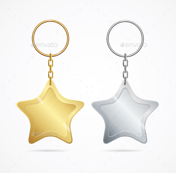 Realistic Template Metal Keychains Set - Man-made Objects Objects