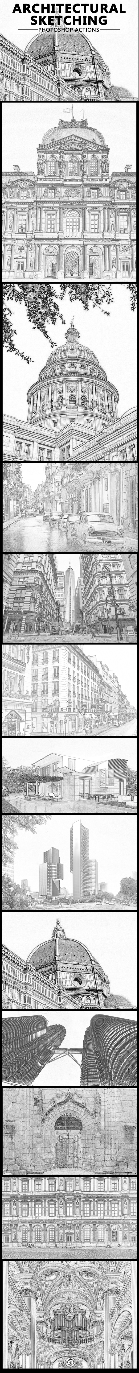 GraphicRiver Architectural Pencil Sketching Photoshop Action 20478612