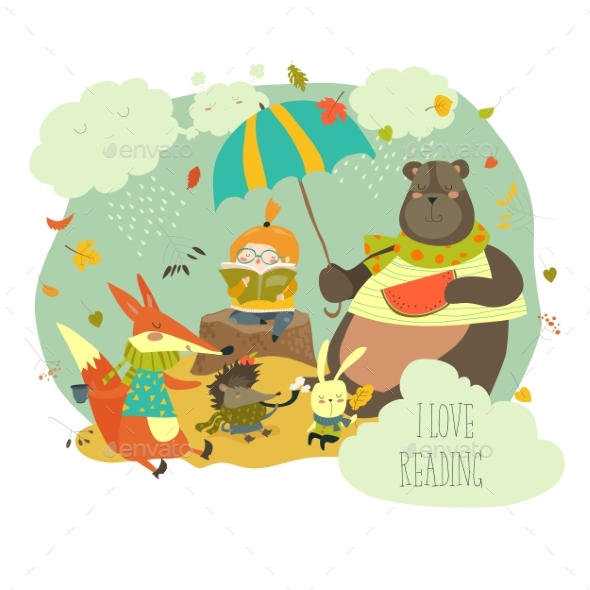 Girl Reading Book to Wild Animals - Animals Characters