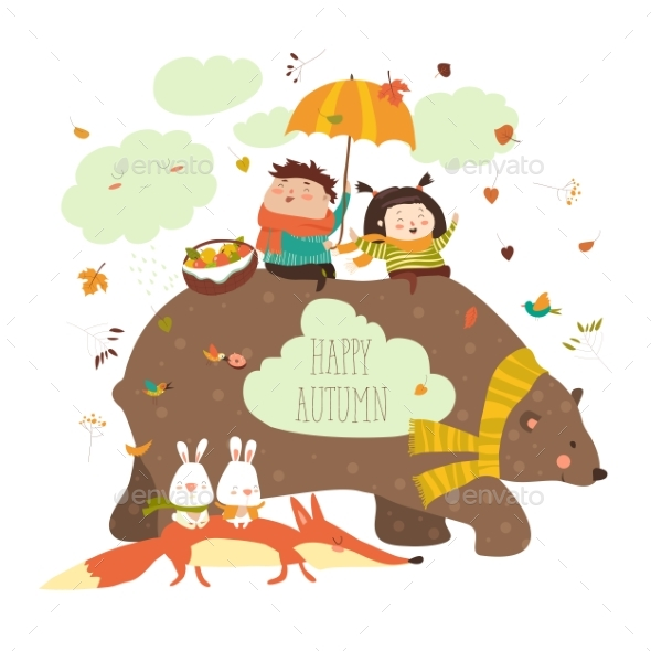 Happy Kids with Bear and Fox - Animals Characters