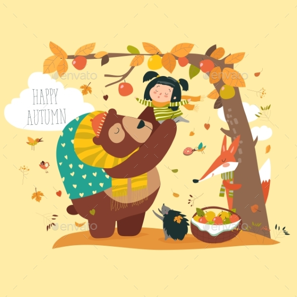 Bear with Girl Harvesting Apples - Flowers & Plants Nature